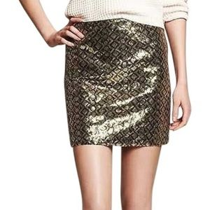 Banana Republic 14 gold green sequin mini